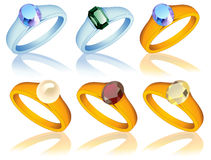 Ring_collection_with_jewel Stock Image