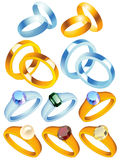 Ring_collection_with_precious_stones Imagenes de archivo