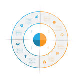 Ring from colored lines infographic four number options Stock Image