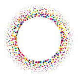 Ring of colorful dots scattered around. Modern design halftone element. Vector illustration Stock Image