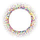 Ring of colorful dots scattered around. Modern design halftone element. Vector illustration Royalty Free Stock Image
