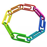 Ring of colorful paper clips Stock Image