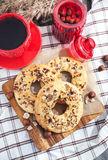 Ring cookies with hazelnut Royalty Free Stock Image