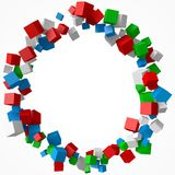 Ring of cubes, 3d style vector illustration. Suitable for any banner, ad, technology and abstract themes Royalty Free Stock Photo
