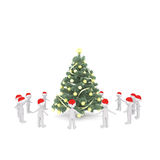 Ring of 3D figures around a Christmas tree. Ring of 3D human figures standing around a decorated Christmas tree while holding hands over isolated background Royalty Free Stock Photo
