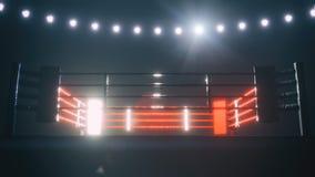 Ring de boxeo en la iluminación dramática 3d rinden ilustración del vector