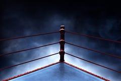 Ring de boxeo profesional en fondos del humo imagen de archivo libre de regalías