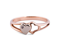 Ring decorated with two hearts Royalty Free Stock Photography