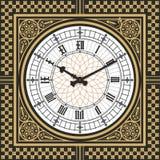 Ring den viktorianska klockan i stilen av Big Ben Redigerbar mall för vektor Arkivbilder