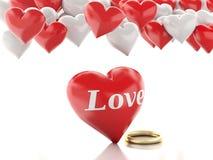 Ring des Gold 3d und Herzballone Roter heart-shaped Schmucksachegeschenkkasten und eine rote Spule auf einem Zeichen Stockfotografie
