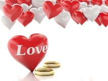 Ring des Gold 3d und Herzballone Roter heart-shaped Schmucksachegeschenkkasten und eine rote Spule auf einem Zeichen Lizenzfreie Stockfotos
