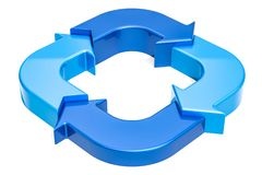 Ring diagram from blue arrows, 3D rendering. Isolated on white background Royalty Free Stock Photo