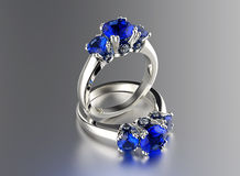 Ring with diamond. Fashion Jewelry background Stock Images