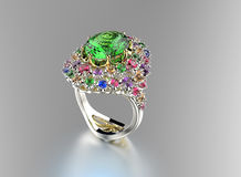 Ring with Diamond. Fashion Jewelry background Stock Photo