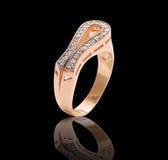 Ring with diamond gems Stock Photo