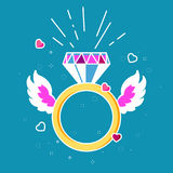 Ring with diamond, hearts and wings. Love concept. Gold glowing. Bright colors: golden rings, purple precious diamond, pink wings, red outline heart. Vector stock illustration