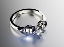 Ring with Diamond. Jewelry background Stock Photos