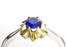 Ring with Diamond. Jewelry background. Sapphire Royalty Free Stock Photo