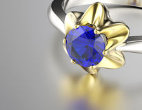 Ring with Diamond. Jewelry background. Sapphire Stock Photography