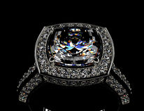 Ring with Diamond. Jewelry background Stock Images