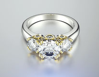 Ring with Diamond. Jewelry background Stock Image