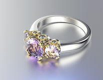 Ring with Diamond. Jewelry background Royalty Free Stock Photo