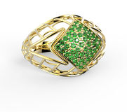 Ring with diamond and pave. 3D illustration Royalty Free Stock Images