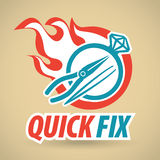 Ring with a diamond, tool, fireball. Repair jewelry. Vector illustration Royalty Free Stock Photography