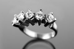 Ring with 5 diamonds Stock Images