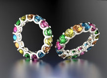 Ring with different color diamond. Fashion Jewelry background Royalty Free Stock Photos