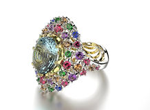 Ring with differet color gemstone. Jewelry background Stock Images