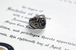 Ring on Diploma Stock Photo