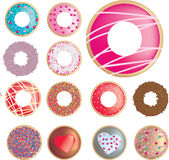 Ring donut collection of different flavours Stock Image