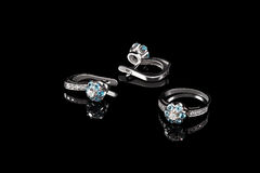 Ring and earring Royalty Free Stock Images
