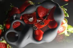 Ring and earrings with the symbol of bdsm lying among the strawberries next to the sex toy caterpillar. Top view royalty free stock photography