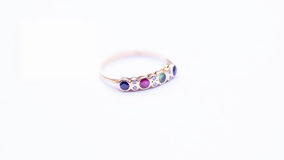 Ring. An elegant white gold forever ring with gemstones Sapphire,Emerald,Rubies & Diamonds Stock Photo