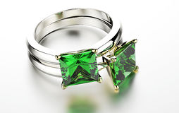 Ring with emerald. Stock Photo