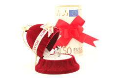 Ring and euros Royalty Free Stock Photo
