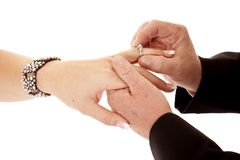 Ring on finger Royalty Free Stock Image