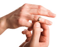 Ring On Finger Bride Close-up Royalty Free Stock Image