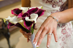Ring on finger. After wedding Royalty Free Stock Photos