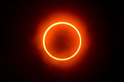 Ring of Fire. Rare sighting of this annular eclipse on May 21, 2012 near Tokyo Japan Royalty Free Stock Photo
