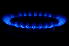 Ring of fire. Burning gas cooker rings ready to cook Royalty Free Stock Photos
