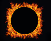 Ring of fire on black. Background Stock Photography