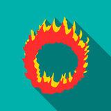 Ring of fire icon, flat style. Ring of fire icon. Flat illustration of ring of fire vector icon for web isolated on turquoise background Stock Photography