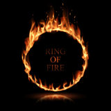 Ring of fire. Illustration in vector on black background Stock Photos