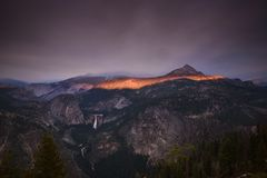 Ring of fire over Yosemite national park Royalty Free Stock Image