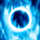 Ring of Fire. Vector Fiery Circle Background. Blue Ring of fire. Vector illustration. Abstract background with fire flames and copyspace. Fiery circle on poster Stock Photos
