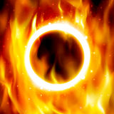 Ring of fire. Vector fiery circle on poster for the circus. Fire show banner. Ring of fire. Vector illustration. Abstract background with fire flames and Stock Photography