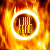 Ring of fire. Vector fiery circle on poster for. Fire show banner. Ring of fire. Vector illustration. Abstract background with fire flames and copyspace. Fiery Stock Images